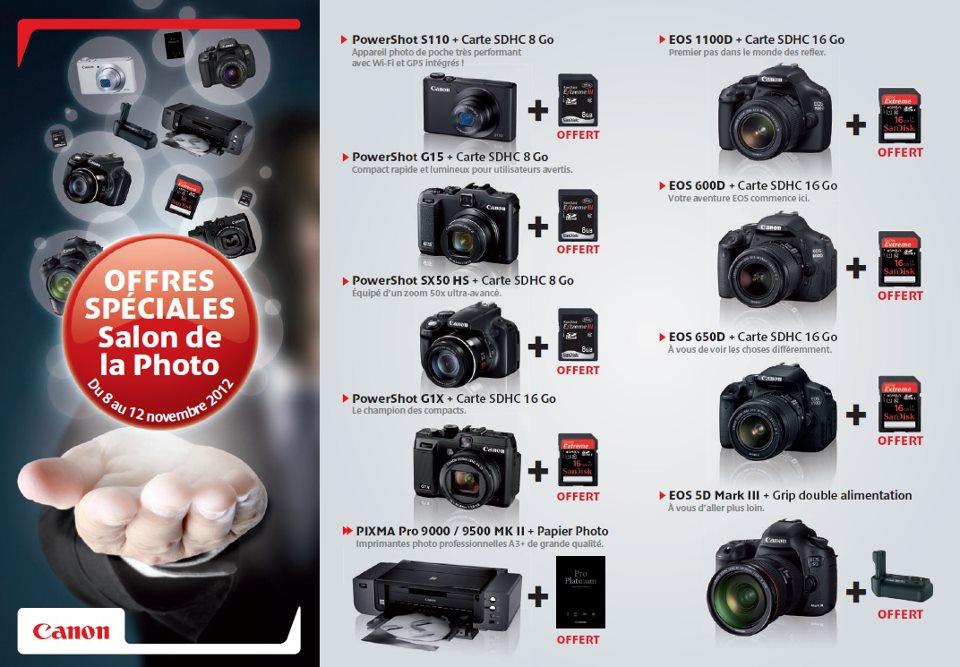 Détails offres Canon Salon de la photo 2012