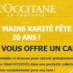 L'occitane : une crème main gratuite